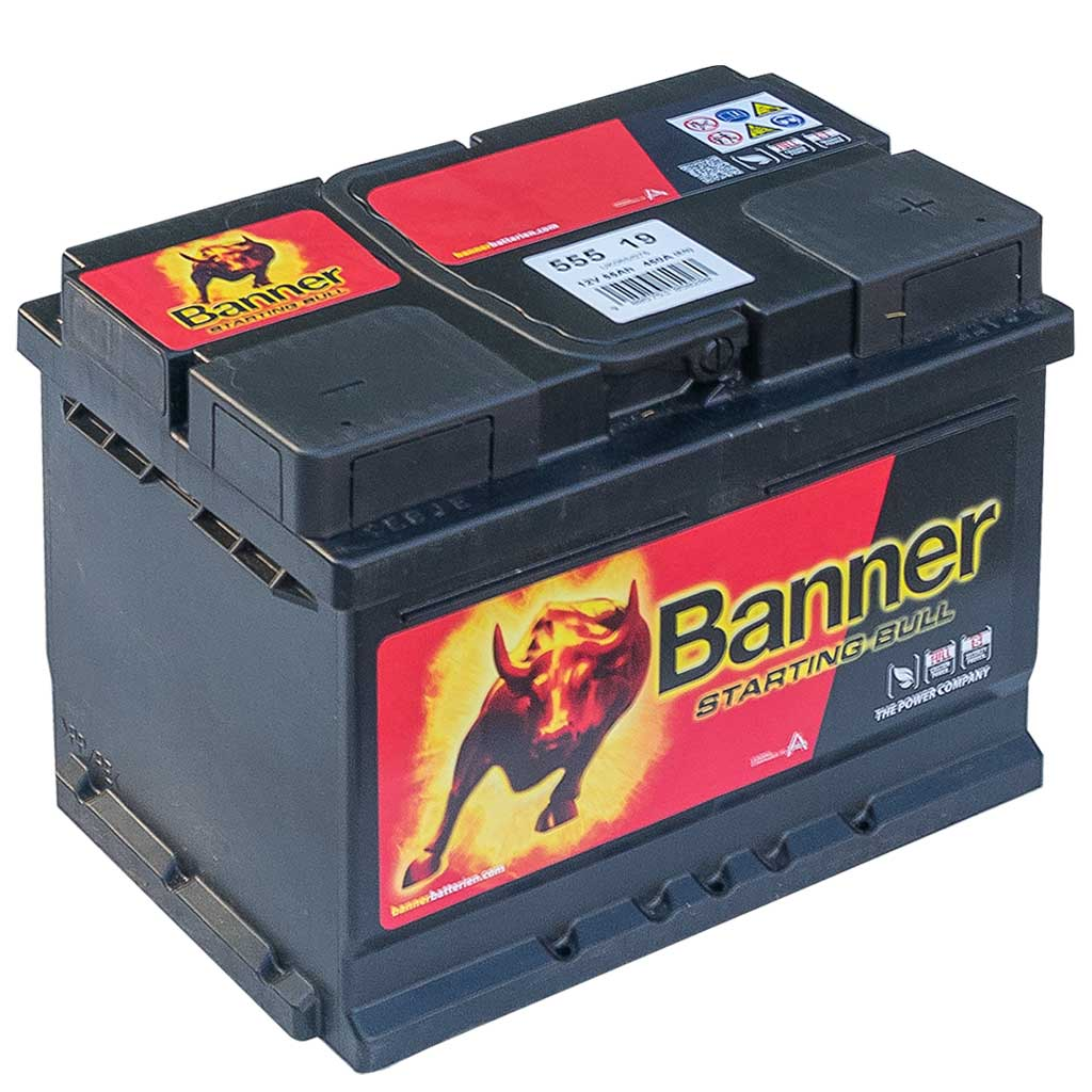 Banner Starting Bull akkumulátor, 12V 55Ah 450A J+, EU, alacsony