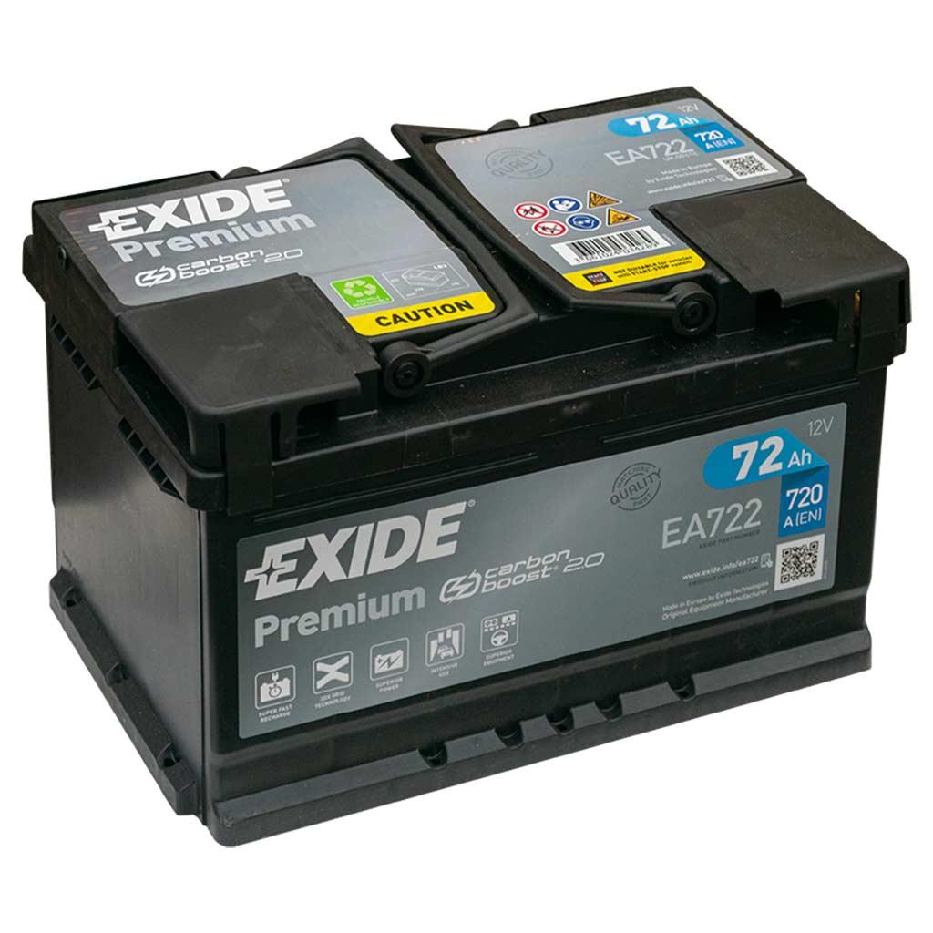 Exide Premium akkumulátor, 12V 72Ah 720A J+ EU, alacsony