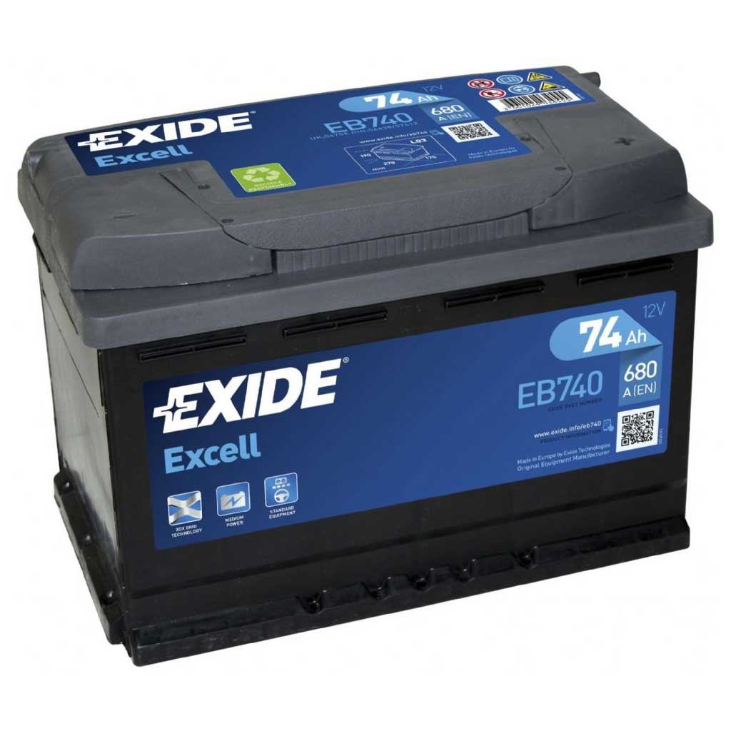exide excell akkumul tor 12v 74ah 680a j eu magas. Black Bedroom Furniture Sets. Home Design Ideas