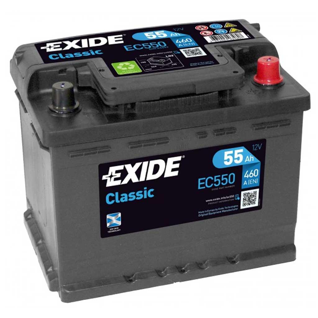 Exide Classic akkumulátor, 12V 55Ah 460A, J+ EU, magas