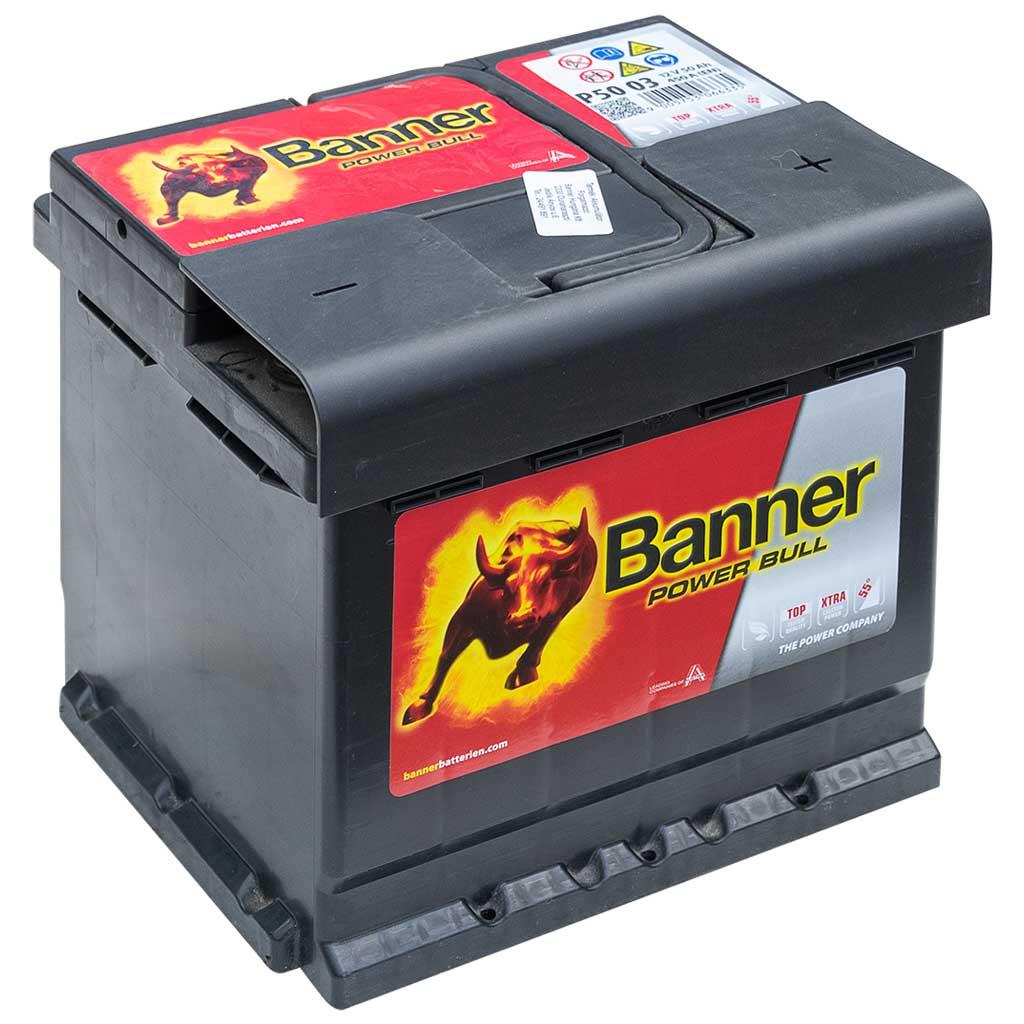 Banner Power Bull Akkumulátor, 12V 50AH 450A J+, EU, magas